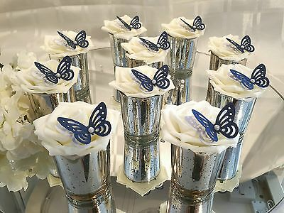 10 x  Small Silver and Navy Blue  glass Wedding Centerpieces/Table Decorations.