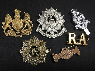 #18 Vintage Army WWII WWI MILITARY CAP BADGE LOT X6 Canadian / 1911 Medal Pin