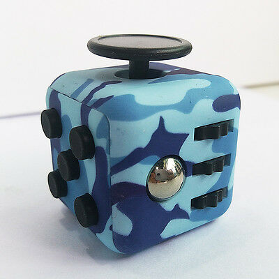 PCamo blue Fidget Cube stress relief office gift toy anxiety adults Finger toys