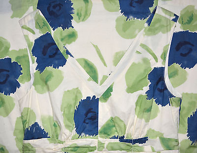 BODEN Size 8 GREEN BLUE WHITE FLORAL PRINT SUMMER DRESS