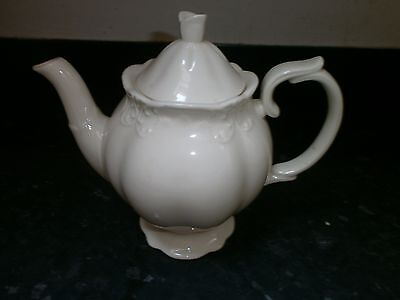Lovely Stylish Cream Embossed Regal Cream Teapot