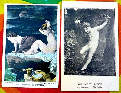 Vintage x2 Postcard Photo Male Nudes Young Youth Erotic Bare Naked Gay Interest