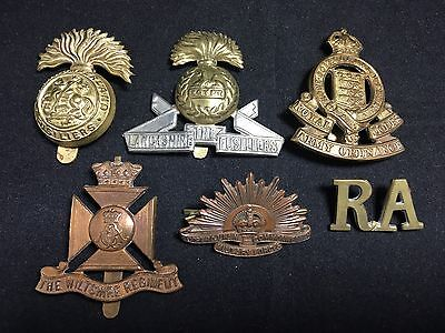 #24 Vintage WWII WWI MILITARY CAP BADGE LOT X 6 NORTHUMBERLAND FUSILIERS Metal