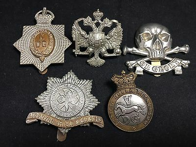 #25 Vintage WWII WWI Army MILITARY CAP BADGE LOT X5 1st 4th 5th DRAGOONS Lancers