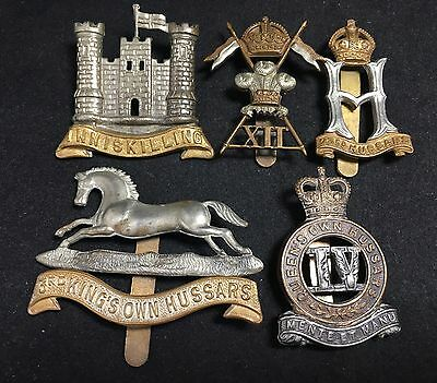 #26 Vintage WWII WWI Army MILITARY CAP BADGE LOT X5 DRAGOONS LANCERS HUSSARS