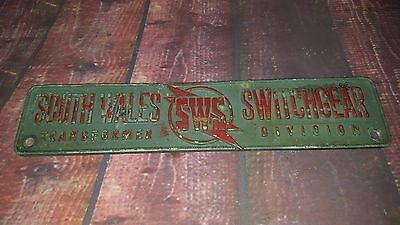Vintage Industrial Old Advertising Metal Sign South Wales Switchgear
