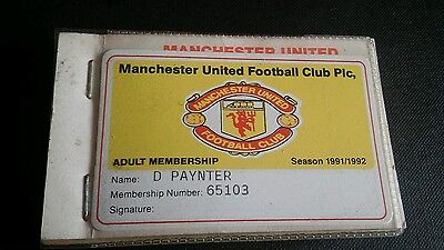 Manchester United Adult Membership Voucher Book season 1991/92 COMPLETELY INTACT