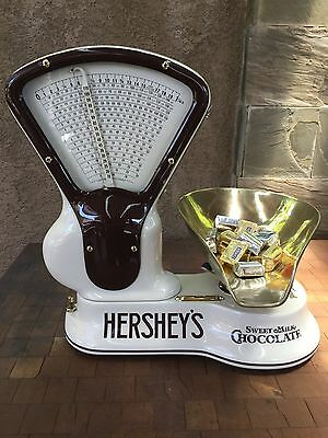 Vintage Rare Toledo 1 1/4 Lb Candy Scale W/ Brass Pan Hersheys Chocolate Themed