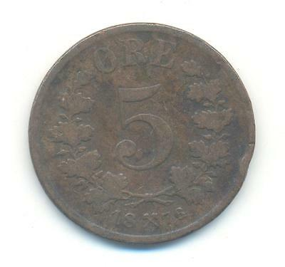 Very Nice Rare.norway.5.ore.1876.very Collectable.b.11