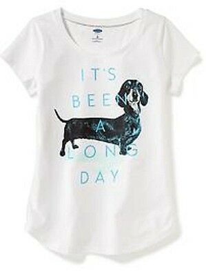 """""""It's Been A Long Day"""" Dachshund Dog Girls Kids Tee Shirt Size S (6-7) or XS (5)"""