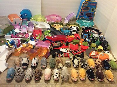 HUGE LOT! 25 Zhu Zhu Pets w Accessories Tunels Case Kung Battle Arena Hamsters!