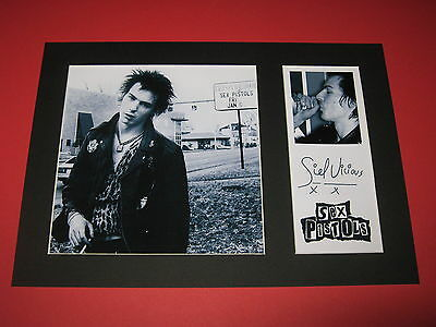 Sid Vicious Sex Pistols A4 Photo Mount Signed Reprint Autograph Johnny Rotten