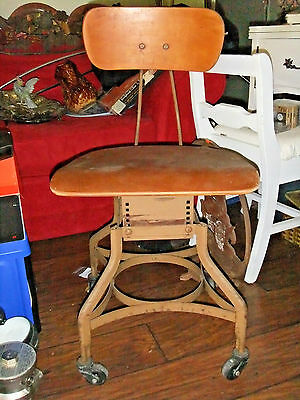 Vintage Steel & Wood Industrial Swivel Drafting Desk Chair Toledo UHL?