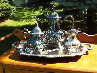 Poole Silverplate Coffee Set with Tray and Sugar / Creamer (4 Piece)