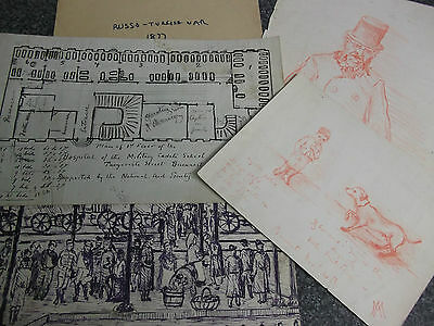 1877 Russo-Turkish War Art 4 Drawings Bucharest Hospital Railway Soldiers AM/MA?