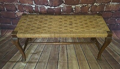 Old Vintage Antique Long Bench Seat Foot Stool String Wicker