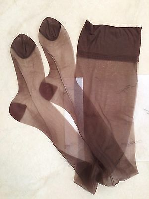 2pr NIP Vtg HANES Stockings NOS Reinforced Sheer 415 M RHT 10 M