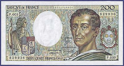 Gem Uncirculated 200 Francs 1981  Banknote From France. Perfect