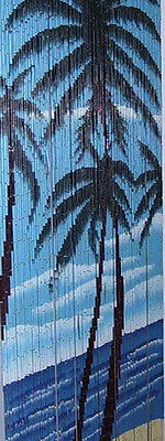 == Blue Palm Tree Bamboo Beaded Hanging Curtain Screen Divider Rideau de Porte