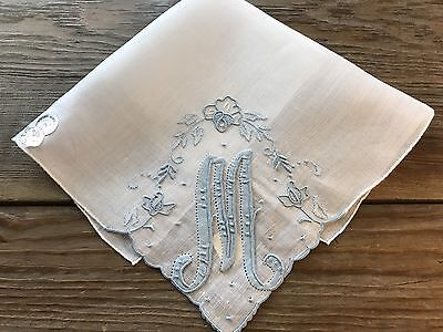 A+ UNUSED Vintage Hankie Madeira Embroidered Blue Monogram M Wedding Bride WT