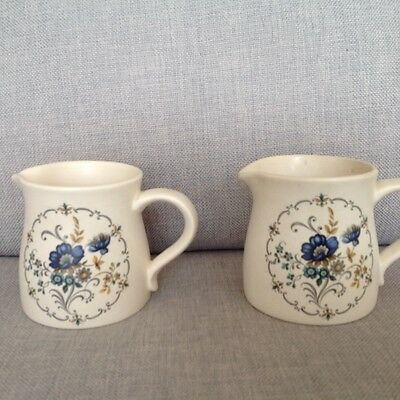 2 Vintage Purbeck Pottery milk jugs decorated with blue flowers