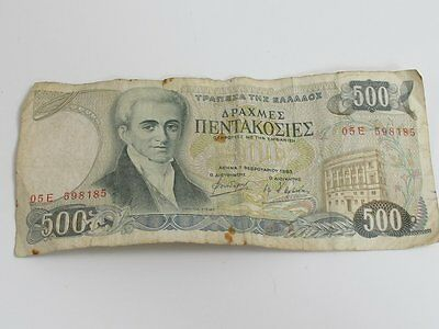 Vintage Greek Greece 500 Drachma Circulated Bank Note