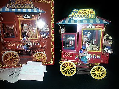 Rare Vintage Enesco Popcorn Carnival Deluxe Action Musical Mouse Music Mice Box