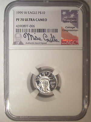 1999-W $10 Dollar PLATINUM Eagle NGC PF70 PR70 Proof UC $360+ Mike CASTLE Signed