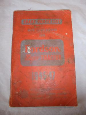 Original 1945-47 Illustrated Spare Parts List For The Fordson Major Tractor