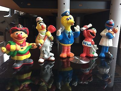 Sesame Street Five Piece  Porcelain Figurines With Boxes