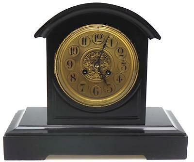 French Black Slate & Marble Arched Top Striking 8 Day Mantel Clock Lloyd Paris