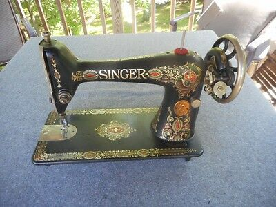 Singer Sewing Machine Antique Floral Treadle Red Eye Early 1924