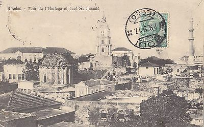 Greece 1917   Vintage Rhodes Island Showing  Mosque Landscape Islamic Art Italy