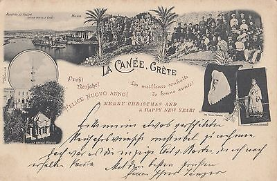 Greece  Crete  Vintage 1890 - 1900 Multi-View 'la Canee - Crete' Postcard
