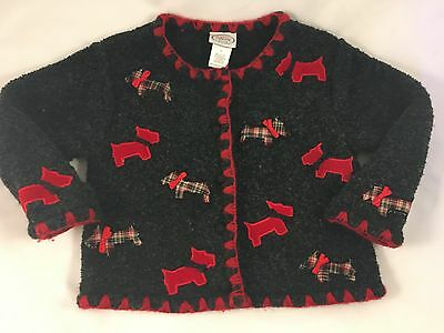 Talbots Kids Toddler Girls' Sz 3T ~ Cardigan Sweater ~Scotty Dog Scottie Terrier