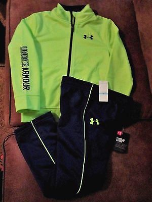 Under Armour Size 5 Unisex Navy blue Lime Outfit; new with tags