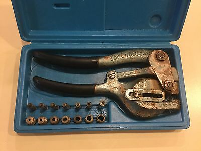 Roper Whitney No. 5 Jr. Metal Hand Punch Model No. 5, complete die set in case.