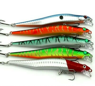 5 Rattling Spinning Lures Pike perch bass Crankbaits   12cm   wire trace