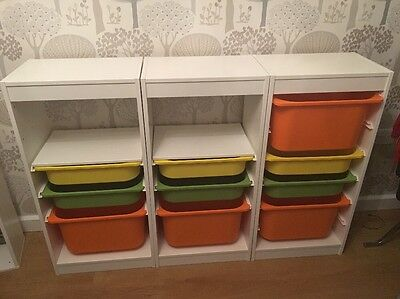 3 Trofast White Storage Units With Drawers.  Excellent Condition. IKEA