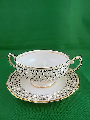Queen Anne China Georgian Soup Cup & Saucer