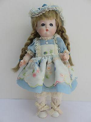"""Vintage Germany A.O.M. 310 Doll Bisque Jointed 10"""" Fully Dressed Blond Blue Eyes"""