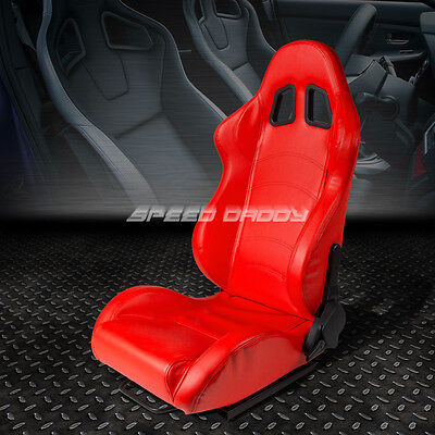 Full Reclinable Pvc Leather Sports Racing Seat+Mount Slider Red Driver Left Side