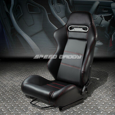 Type-R Fully Reclinable Pvc Leather Racing Seat+Mounting Slider Driver Left Side