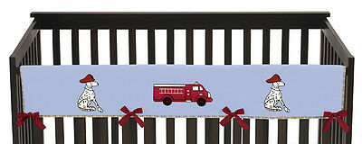 Jojo Blue Red Firetruck Front Rail Guard Crib Cover Baby Teething Protector Wrap