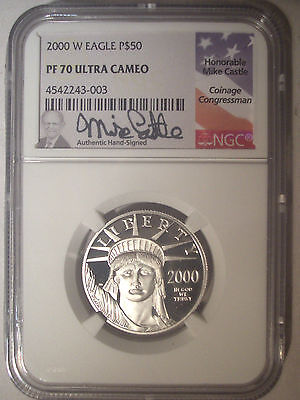 2000-W $50 Dollar PLATINUM Eagle NGC PF70 PR70 Proof $1,050++ Mike CASTLE Signed