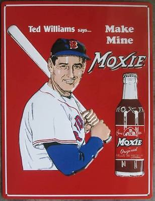 New Tall 17'' X 13'' Moxie Soda Bottle Tin Metal Embossed Sign