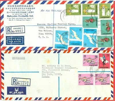Singapore Topic Dance + Bird on 2 diff Commercial Registered Cover USA Lot#4211