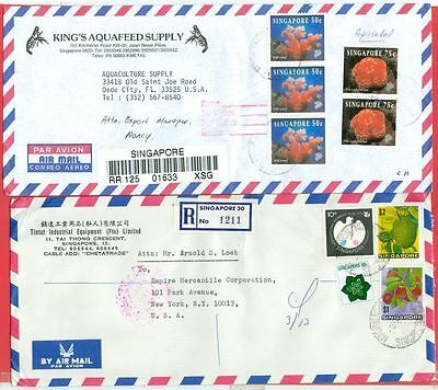 Singapore 2 diff Commercial Registered Advertising Cover to USA Lot#4213