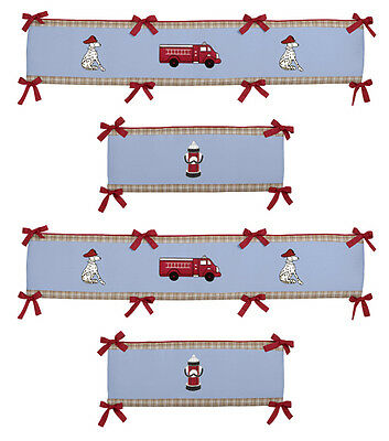 Fire Engine Truck Blue Red Baby Boy Room Affordable 4 Piece Crib Bumper Pad
