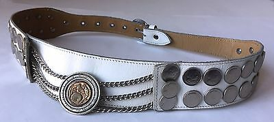 "2"" Wide Leather Traditional Gaucho Belt 40 Argentina Silver Coins Mounted"
